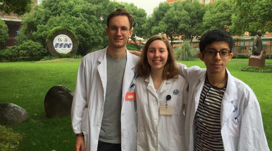 A group of medical students doing internships in Asia at their placement in China.